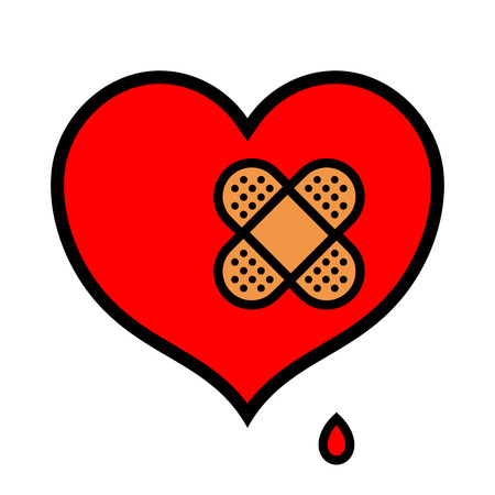 Heridos poco rojo simbólico icono del corazón chorreando sangre con un par de vendas cruzadas sobre sobre el fondo blanco aislado Foto de archivo - 61954749