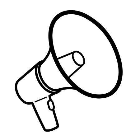 loudhailer: Black outline megaphone or bullhorn for amplifying the voice for protests rallies or public speaking isolated on white, vector illustration