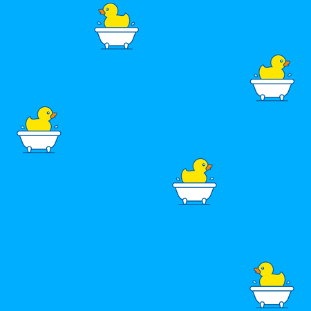 rubber ducks: Seamless background pattern of colorful yellow rubber ducks floating in a bathtub on a blue background with repeat icons in square format Illustration