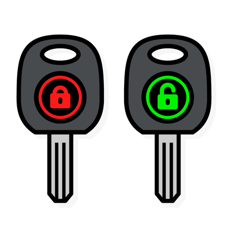 locked in: Two simple outline car keys with lock icons, one showing it locked in red, the other open in green, vector illustration isolated on white Illustration