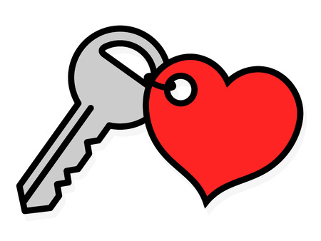 Door key with an attached red heart shaped tag symbolic of love and romance and lock icon isolated on white, vector outline illustration Illustration