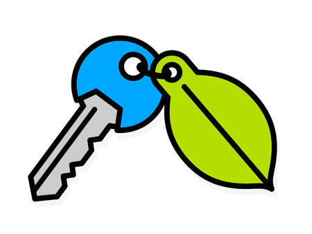 Door key with a colorful green environment leaf tag attached by a small ring and a lock icon, cartoon vector illustration on white Illustration