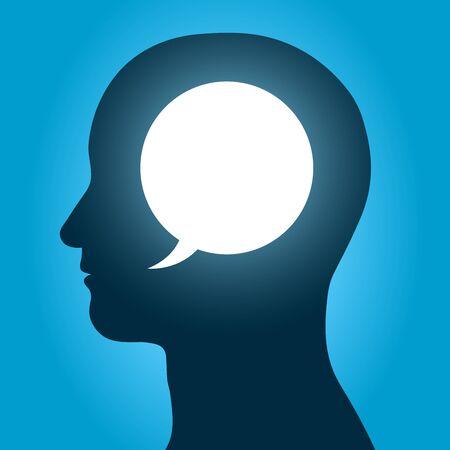 inner strength: Vector image of speech bubble inside human head over blue background Illustration