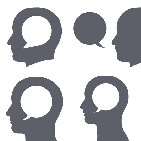 Vector image of speech bubble inside human heads over white background