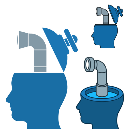 viewing: Vector image of businessmens heads with periscopes against white background