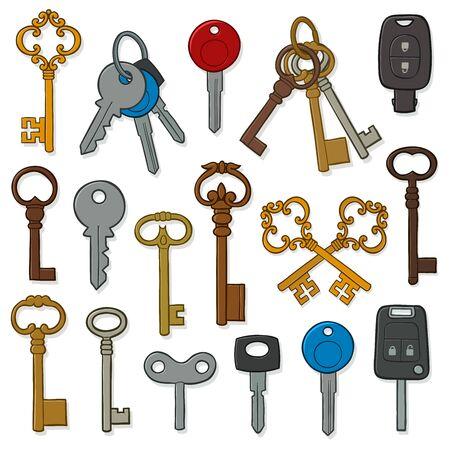 Vector image of various keys against white background Illustration