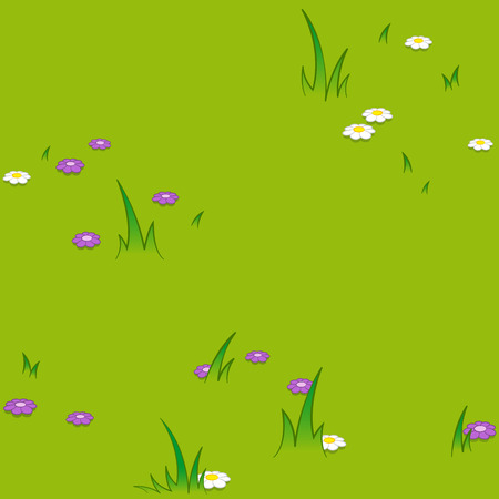 Seamless pattern of flowers blooming on grassy field at park Vetores