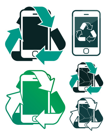 reusing: Vector image of smart phones with recycling signs representing environmental conservation against white background