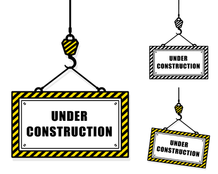 western script: Vector image of under construction signs hanging from crane hooks against white background Illustration