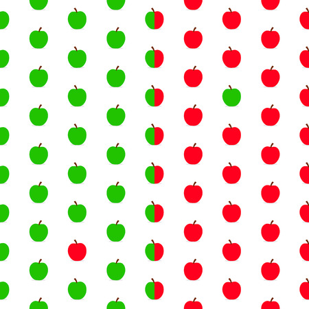Seamless pattern of red and green apples over white background