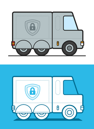 armored: Vector image of white and gray armored security trucks on colored background Illustration