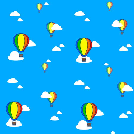 Seamless pattern of colorful hot air balloons in blue sky