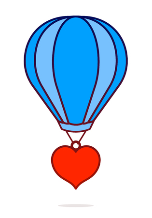 Vector image of red heart hanging from hot air balloon against white background Illustration