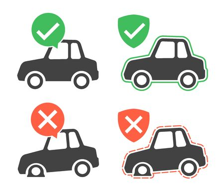 green issue: Vector image of protected and breakdown cars over white background