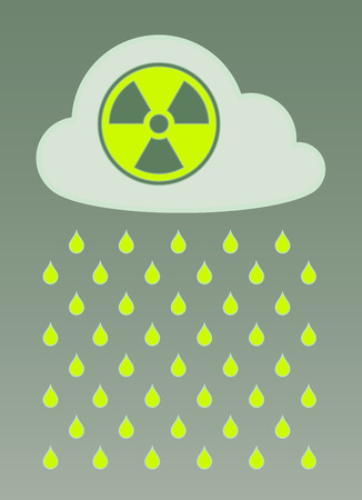 fallout: Vector image of cloud with radioactive icon and nuclear fallout over colored background