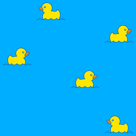 Cute seamless pattern with yellow rubber ducks floating on water
