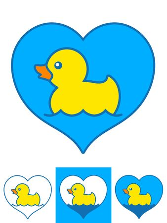 rubber ducks: Vector image of yellow rubber ducks swimming in hearts over white background