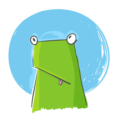 Vector image of confused green frog over white background