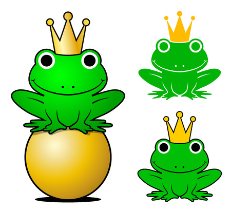 Frogs wearing crowns while one sitting on gold ball against white background