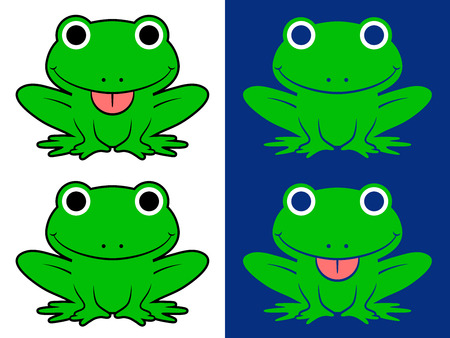 full length portrait: Vector image of green cartoon frogs over white and blue background Illustration