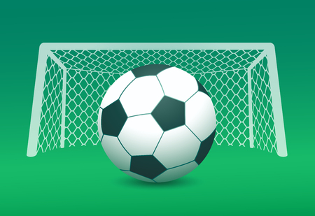 goal post': Vector image of soccer ball and goal post on green field