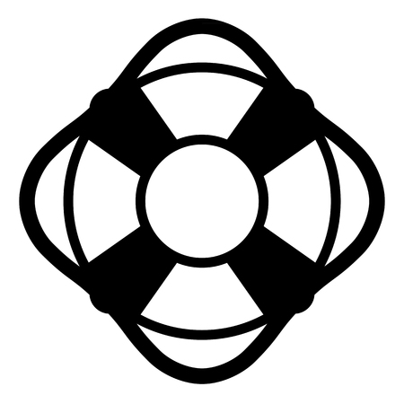 life ring: Lifesaver icon with a simple black silhouette of a life ring or preserver which gives buoyancy to a drowning swimmer, vector illustration