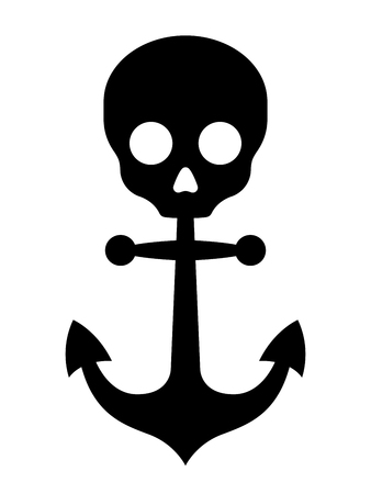 marauder: Simple black anchor icon with skull symbol on top on white background illustration