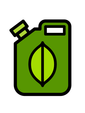 Colorful green fuel canister with a biofuel icon of an organic green leaf on the side, vector illustration