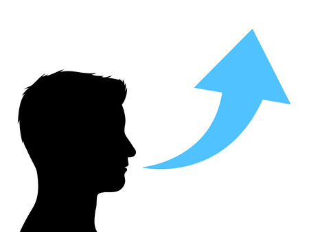facing right: Silhouette Male Head Facing to the Right of the Frame with Conceptual Blue Trend Arrow In Front Going Up on White Background.