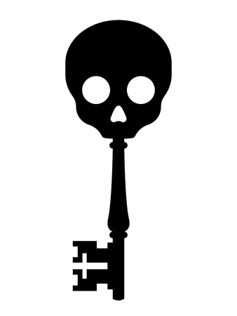 Black silhouette on white of an old antique key topped with a skull conceptual of unlocking a pirate treasure, or a horror design element for Halloween, vector illustration