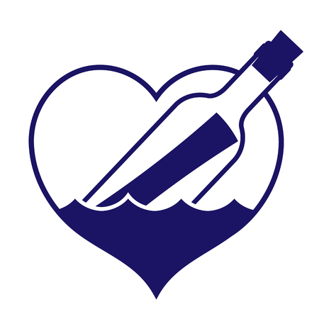 choppy: Navy colored heart-shaped message in a bottle icon depicting search for love, bottle floating in choppy waters for use as a design element, vector illustration