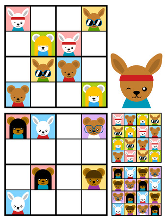 two child: Recreational game for kids with a sudoku puzzle with colorful cute cartoon animal heads to fill the grid in two variations with answers, vector design