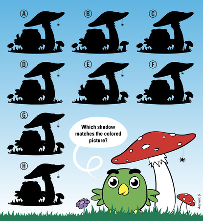 educative: Educative game for children meant to stimulate intelligence through matching cartoon bird under mushroom with the right shadow, cute vector cartoon illustration