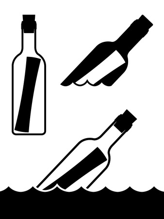 floating: Set of simple black and white vector messages in bottles standing upright and floating on the ocean waves symbolic of a shipwreck, marooned or love and romance