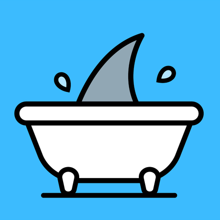 over the edge: Single flapping and splashing gray colored shark fin sticking up from over edge of white bath tub over blue background Illustration