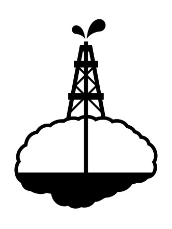 Conceptual vector illustration depicting drilling for oil in the human brain with an oil derrick capping a well tapping resources in the brain, black silhouette on white