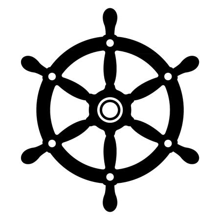 Silhouette simple d'un yacht vintage ou une roue de navires en noir et blanc pour une utilisation comme élément de design, illustration vectorielle Vecteurs