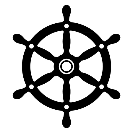 Simple silhouette of a vintage yacht or ships wheel in black and white for use as a design element, vector illustration Illustration