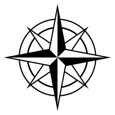 bussola: bussola stile rosa antico icona nella temi in bianco e nero per la marina e nautica, elemento di disegno vettoriale