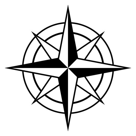 Antique style compass rose icon in black and white for marine and nautical themes, vector design element Illustration