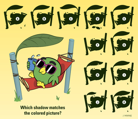 sunbathing: Educative game for children meant to stimulate attention through finding the matching shadow of a cartoon bird sunbathing in a hammock on a sunny beach