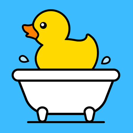 Cartoon cute little yellow rubber duck floating in a bathtub with splashing water droplets, vector illustration
