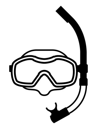 Black and white icon of snorkeling equipment made of protective mask for clear visibility and snorkel for breathing underwater, isolated with copy space on white