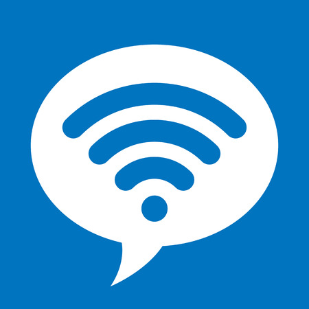 contact information: White speech bubble with sign of local area computer networking technology for wireless connection to internet, isolated on blue