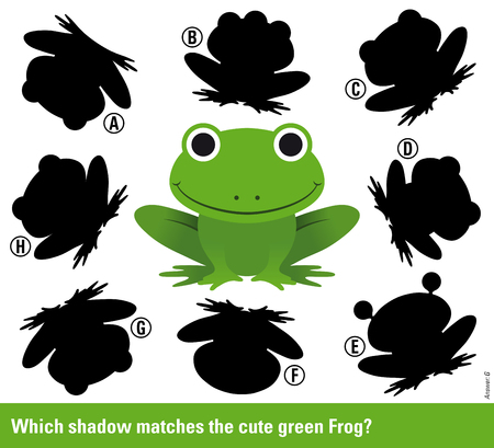 shadow match: Which shadow - Educational kids puzzle with cute smiling green frog surrounded by variations of shadow shapes to select and match to find a solution, vector illustration