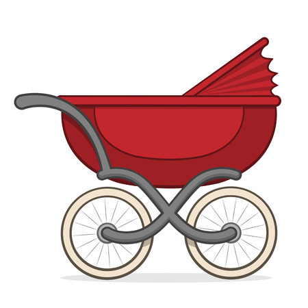 retractable: Side view of a colorful red retro buggy, pram or baby carriage for taking an infant for a walk with a retractable hood and large wheels, vector design element on white
