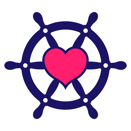 Navy colored ship steering wheel icon with pink heart at centre of wheel depicting search for love for use as a design element, vector illustration