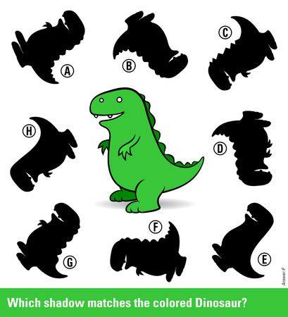 shadow match: Kids puzzle with a green cartoon dinosaur and eight different shadow silhouettes only one of which is a match in shape for entertainment and stimulation of young children, vector illustration Illustration