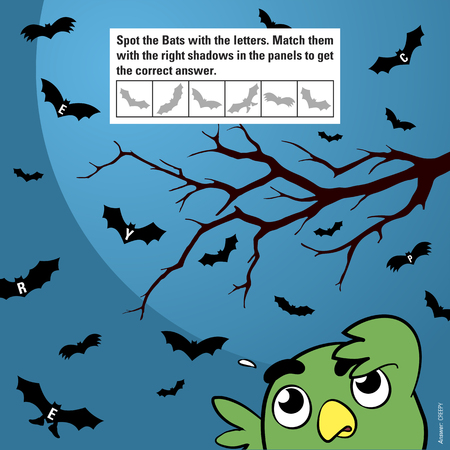 meant: Educational game for children meant to stimulate attention through matching shadows of halloween cartoon bats flying in the moonlight being watched by a funny owl, vector illustration