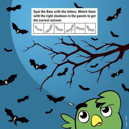 Gioco educativo per i bambini destinati a stimolare l'attenzione attraverso corrispondenti ombre di pipistrelli Halloween del fumetto che volano al chiaro di luna osservata da un gufo buffo, illustrazione vettoriale